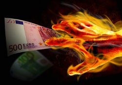 euro brennende hand