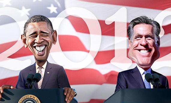 obama romney karrikatur